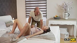 OLD4K. Old male finds horny babe in bedroom and cheers her up