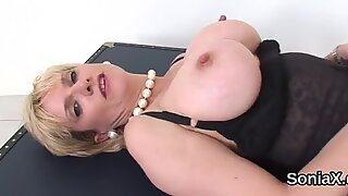 Adulterous english mature lady sonia reveals her massive boobies