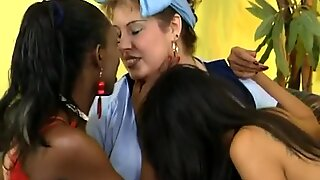 Chubby babe and her two ebony girlfriends get down and dirty