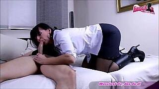Business Mature Milf fuck young guy in jacket