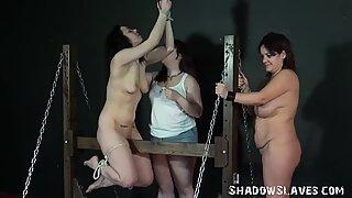 Lesbian spanking and extreme bondage of two english amateur slave girls