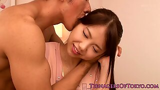 Skillful Casanova persuaded a naive Japanese teenager into savory sex.