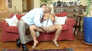 Busty MILF Lucy Love relishes her chance to choke down a monster schlong