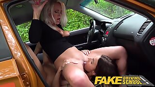 Fake Driving School Learner licks Kathy Andersons wet pussy