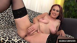Horny MILF Zoe Matthews Masturbates Before Taking a Stiff Cock
