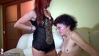OldNanny Sexy girl masturbate hairy pussy of grann
