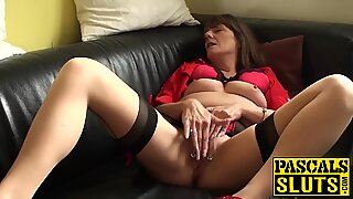 Hot mature with big natural tits plays with her lovely cunt
